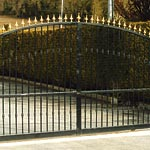 Automatic ornate entrance gate - fabricated, galvanised, powder coated and fitted on site